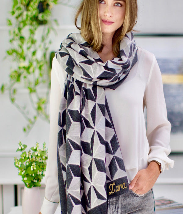 Personalised Charcoal Geometric Print Scarf