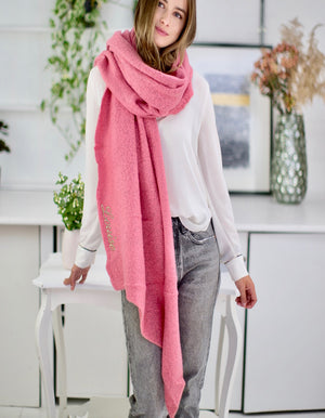 Personalised Soft Pink Chenille Blanket Scarf