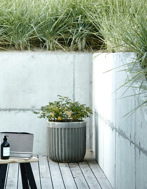 Set of two Concrete Ribbed Planters