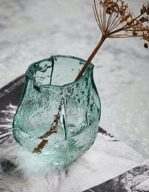 Blue Textured Glass Vase