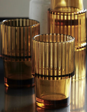 Set of Four Amber Ribbed Tumblers
