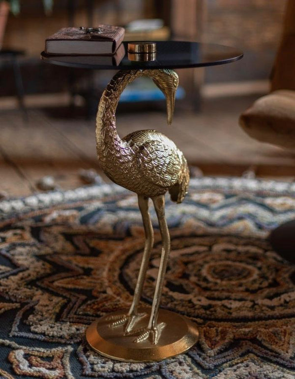 Gold Crane Side Table