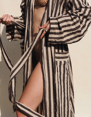 Black and White Stripped Linen Robe