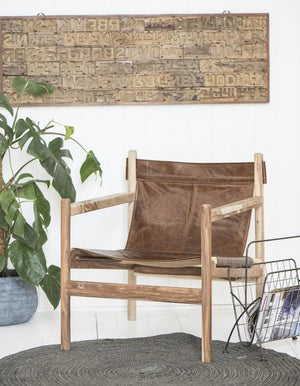 Sheesham Wood And Buffalo Leather Armchair