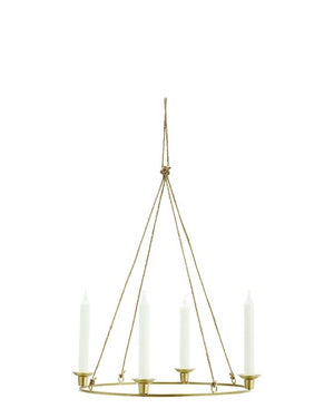 Antique Brass Round Hanging Candle Holder