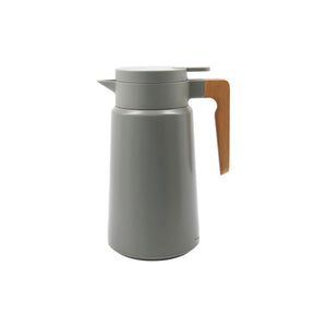 Steel And Beech Thermos Flask In Grey