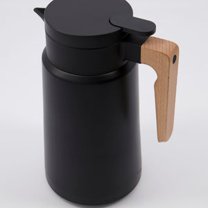 Steel And Beech Thermos Flask In Black