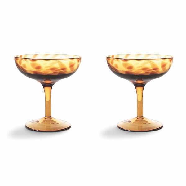 Tortoise Print Set Of Two Champagne Coupe. PRE ORDER NOVEMBER