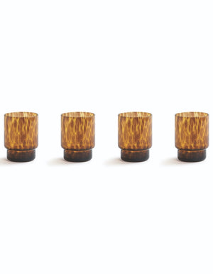 Tortoise Print Set of Four Glasses. PRE ORDER NOVEMBER