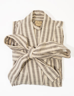 Striped Gray to Natural Linen Robe
