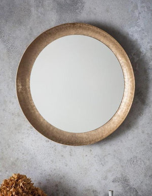 Circular Etched Matt Gold Mirror