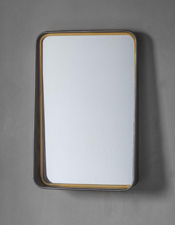 Metal And Gold Wall Mirror With Shelf
