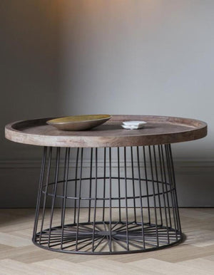 Wood And Metal Wire Circular Coffee Table