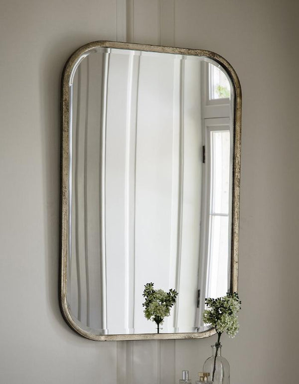 Antiqued Silver Slim Rectangle Mirror