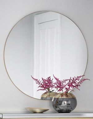 Extra Large Slim Round Mirror Champagne