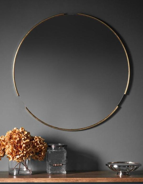 Gold Tubular Circular Mirror