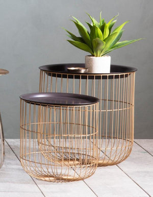 Set of Two Gold Caged Side Tables