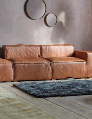 Leather Brown Boxed Sofa. PRE ORDER APRIL
