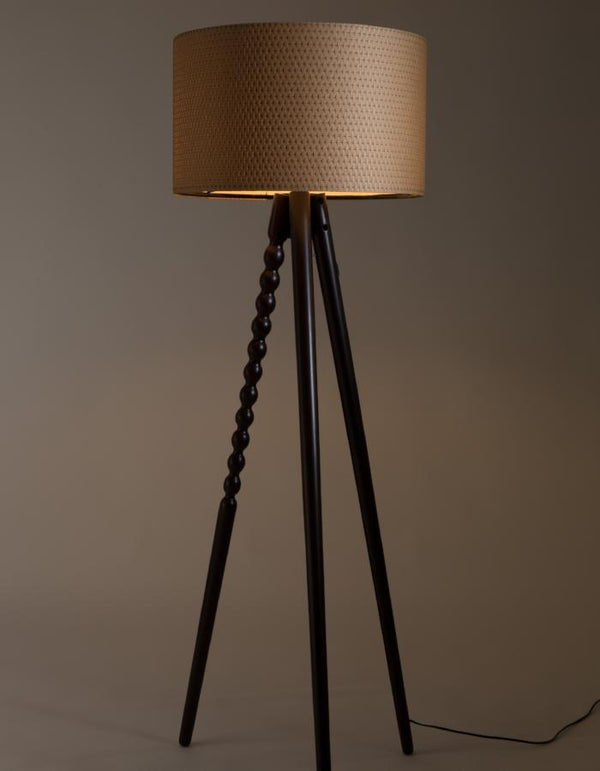 Walnut Twist Tripod Floor Lamp