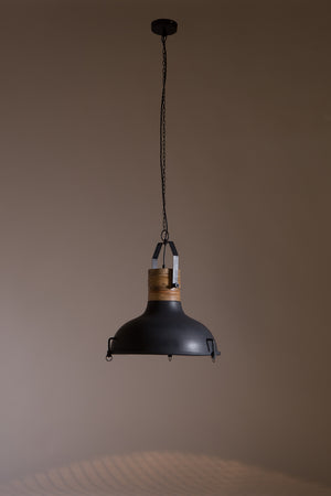 Large Black Industrial and Wood Pendant