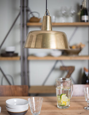 Large Brass Domed Pendant Light