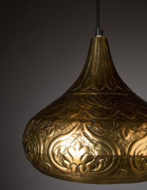 Embossed Brass Patterned Pendant Light