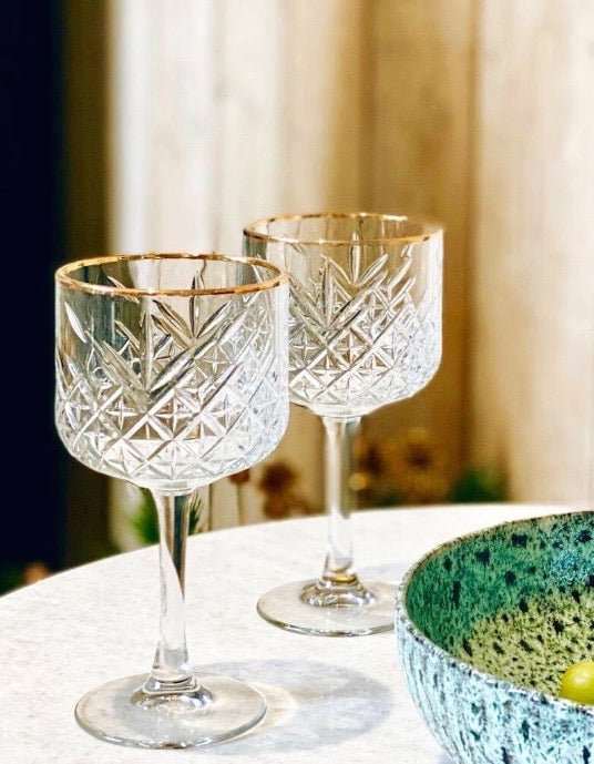 Set Of Two Gold Rimmed Cocktail Glasses
