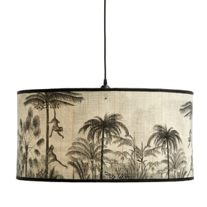Tropical Palm Print Bamboo Lampshade. PRE ORDER MARCH