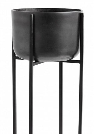 Blackened Planter On A Tall Stand