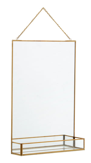 Golden Slim Rectangle Mirror with Glass Shelf