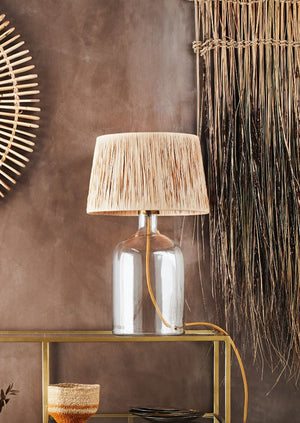Glass And Raffia Table Lamp