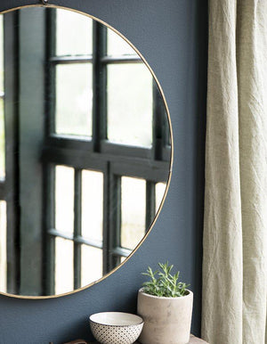 Brass Round Hanging Mirror