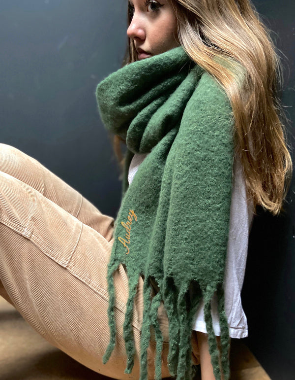 Personalised Fringed Blanket Scarf In Emerald Green