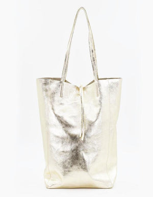 Italian Leather Gold Tote Bag