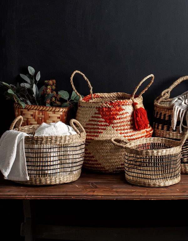 Set of Two Open Weave Baskets