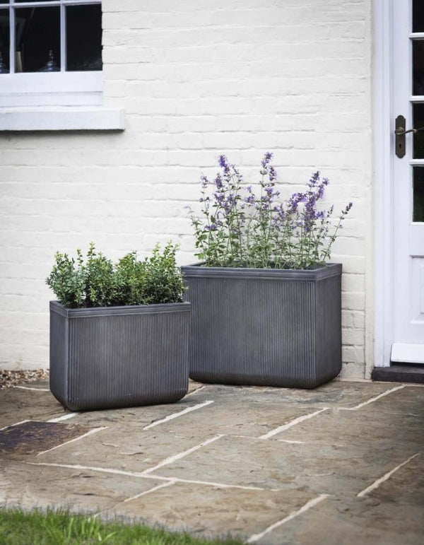 Set Of Two Ribbed Rectangle Planters