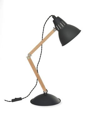 Carbon Steel and wood Desk Lamp