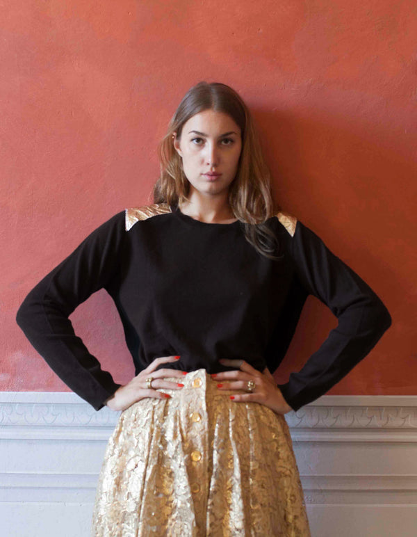 Black and Gold Cashmere Jumper