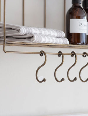 Industrial Wire Wall Shelf With Hooks
