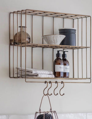 Industrial Wire Wall Shelf With Hooks PRE ORDER OCTOBER