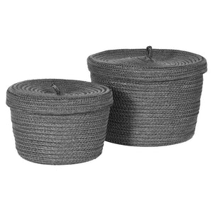 Set of Two Grey Woven Baskets