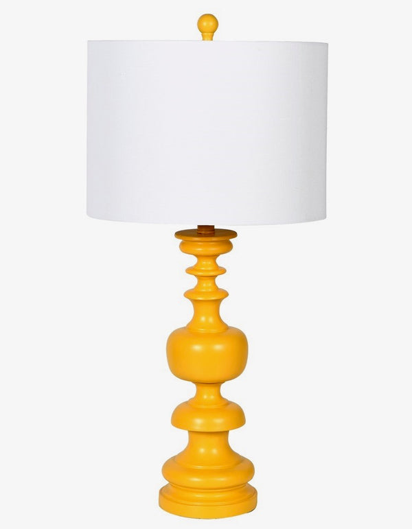 Yellow Wood Turned Lamp With Linen Shade