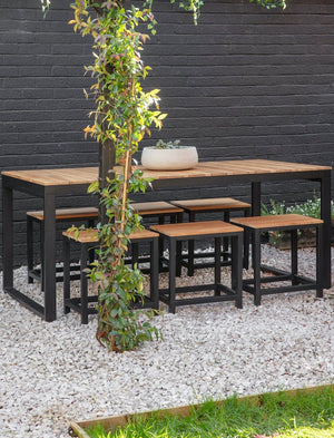 Black Steel and Teak Garden Table and Bench Set
