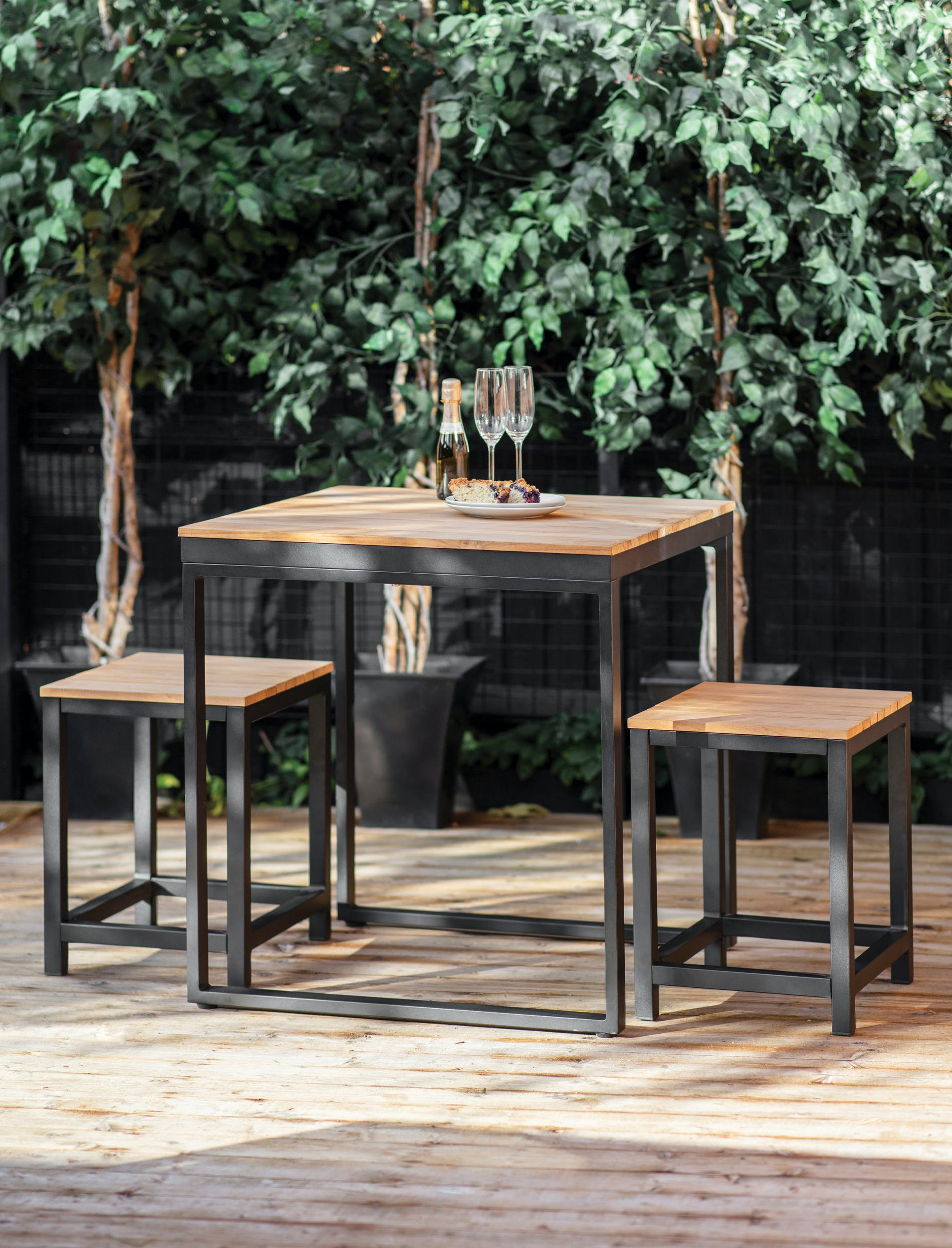 Black Steel And Teak Garden Table And Bench Set The Forest Co