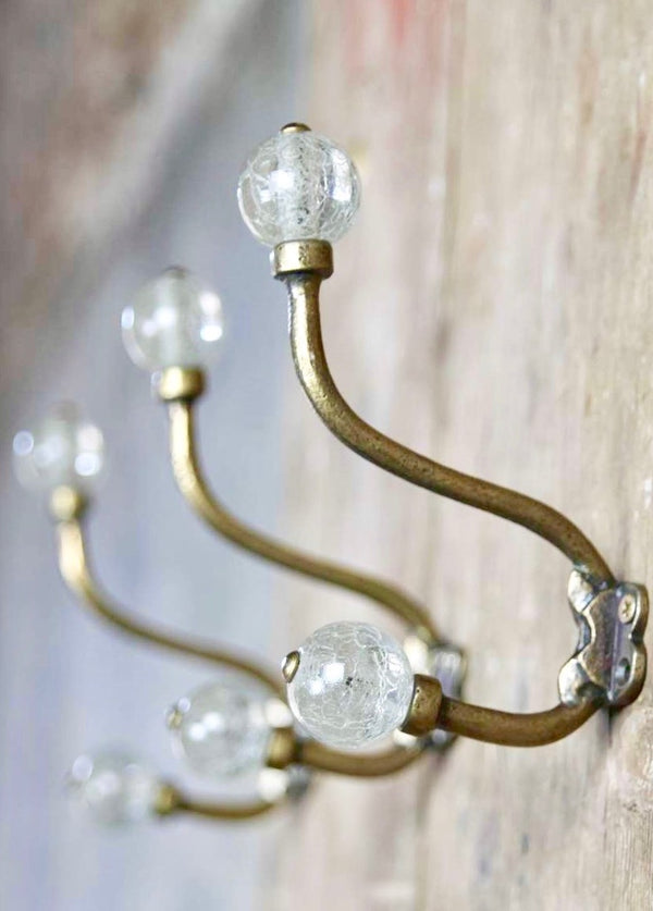 Glass And Brass Wall Hook