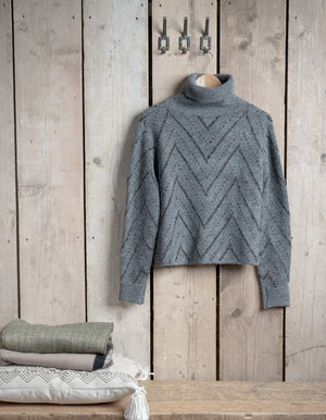 Grey and Gold Roll Neck Jumper