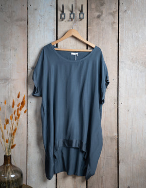 Long Sateen Trim Tunic