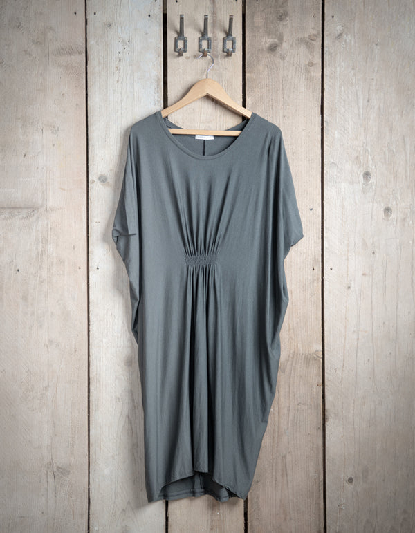 Grey Smock Style Gathered Dress