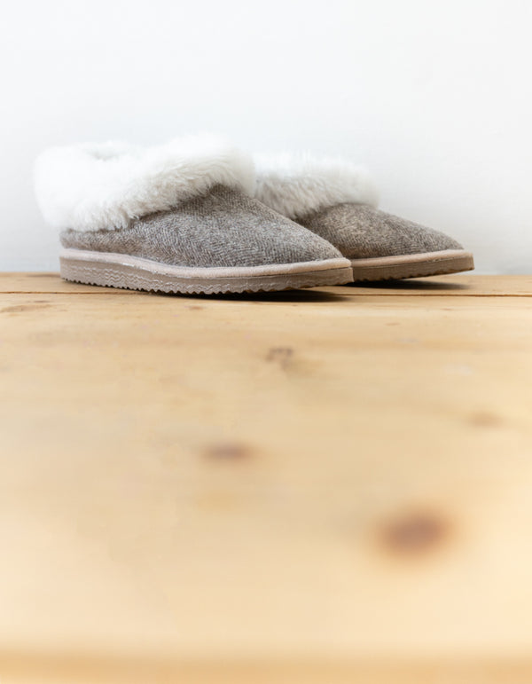 Tweed  Sheepskin Slippers