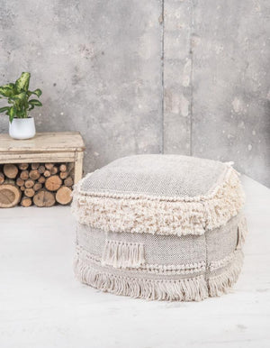 Natural Pouffe with Tassels & Knots